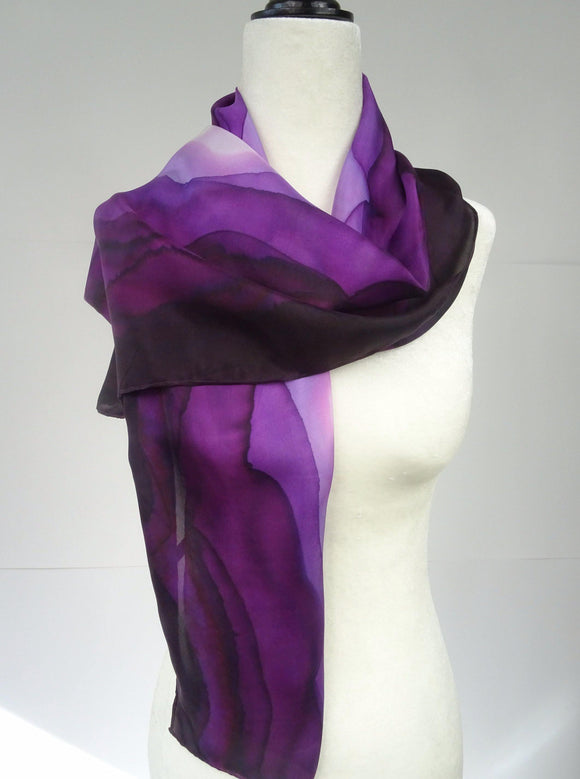 Purple Ombre Hand Painted Silk Scarf
