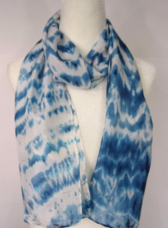 Hand Dyed Teal and White Shibori Silk Scarf