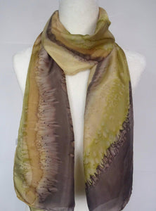 Gold and Brown, Two Tone Hand Painted Silk Scarf.