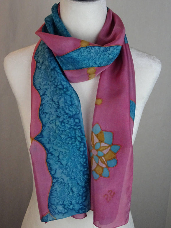 Oriental Turquoise and Pink Hand Painted Silk Scarf