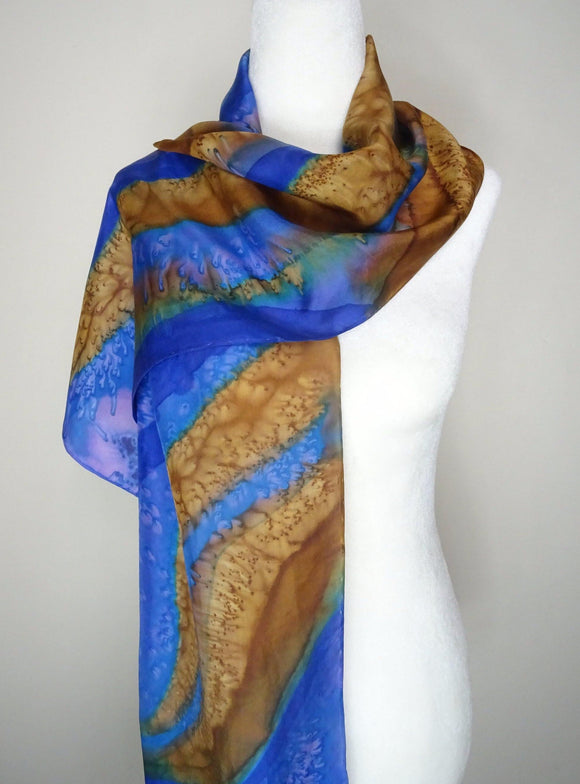 Gold and Blue, Two Tone Hand Painted Silk Scarf