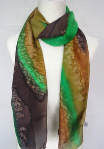 Brown and Green, Two Tone Hand Painted Silk Scarf