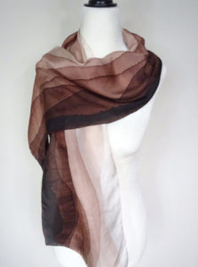 Brown Ombre Hand Painted Silk Scarf