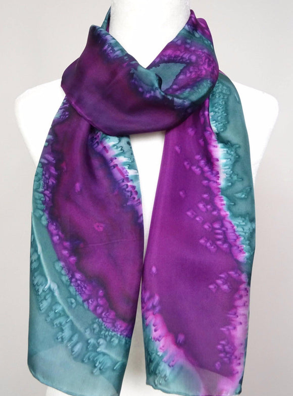 Violet and Russian Green, Two Tone Hand Painted Silk Scarf
