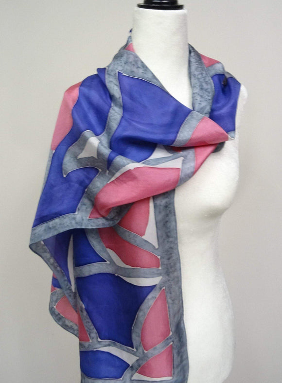 Hand Painted Pink, Blue and Grey Abstract Silk Scarf