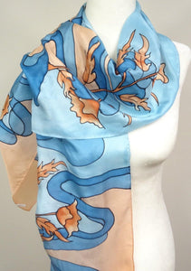 Rust Orange Flowers on a Teal Blue Background Hand Painted Silk Scarf.