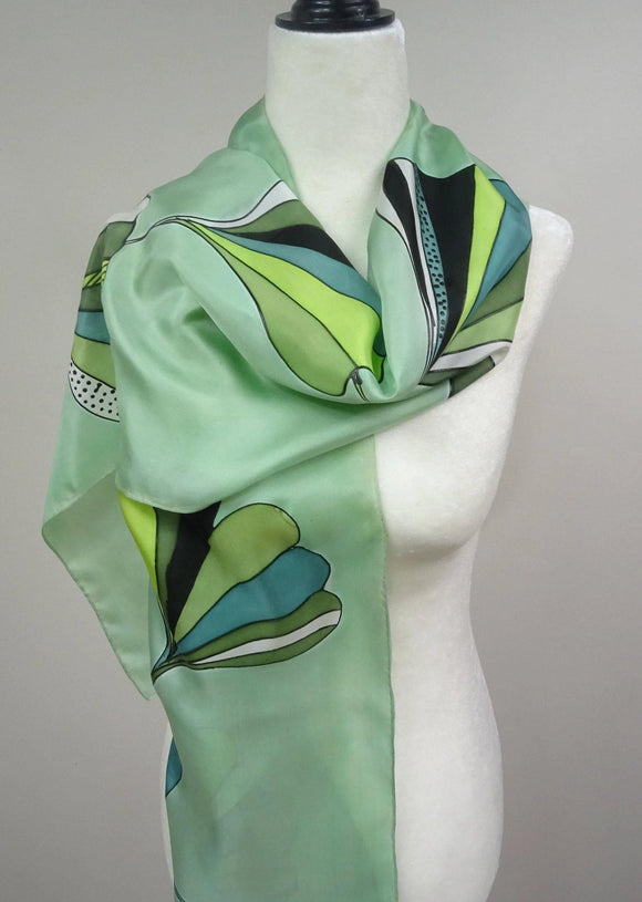 Mint Green Gingko Leaves Hand Painted Silk Scarf