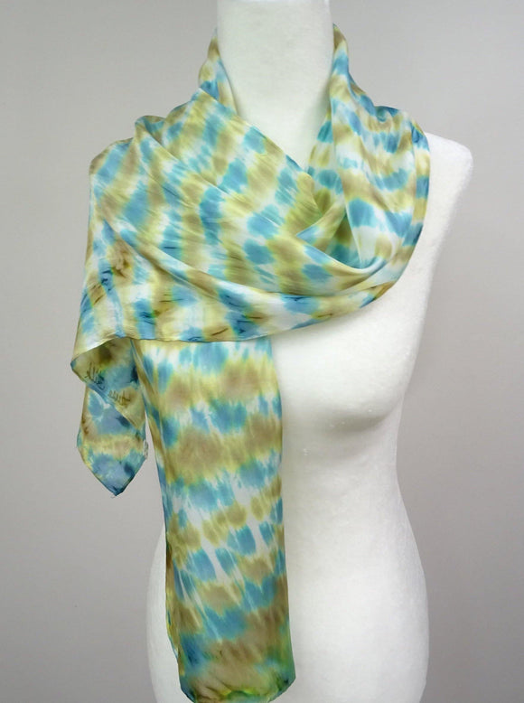 Hand Dyed Silk Scarf in Teal and Gold. Teal Shibori Silk Scarf