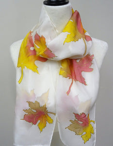 Yellow, Gold and Coral Hand Painted Maple Leaves Silk Scarf