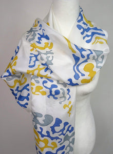 Gold and Silver Hand Painted Crescent Design Silk Scarf