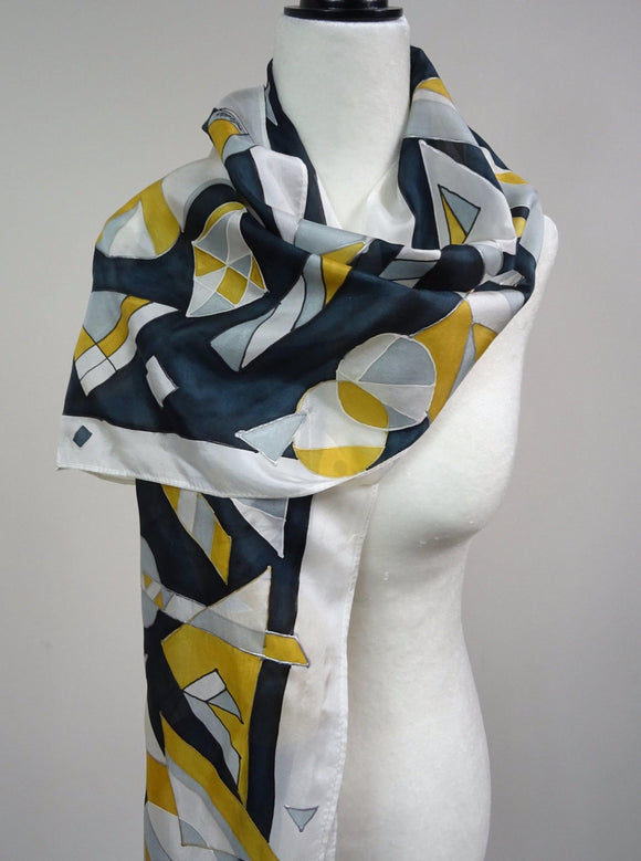Hand Painted Metallic Geometric Gold and Silver Silk Scarf
