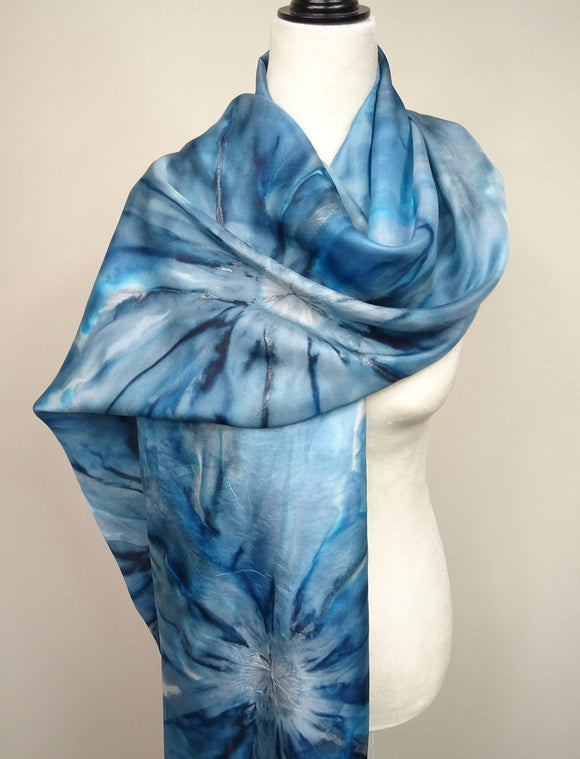 Hand Painted Big Teal, Silver and White Flowers Silk Shawl