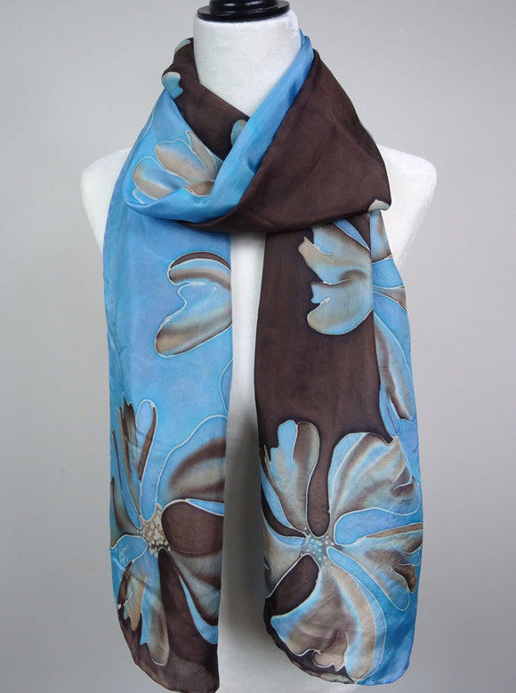 Hand Painted floral silk scarf in brown, beige and blue
