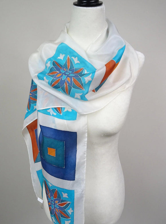 Oriental hand painted white and blue silk scarf.