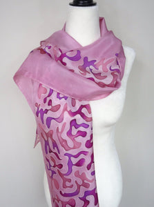 Hand Painted Pink and Purple Hand Painted Silk Scarf