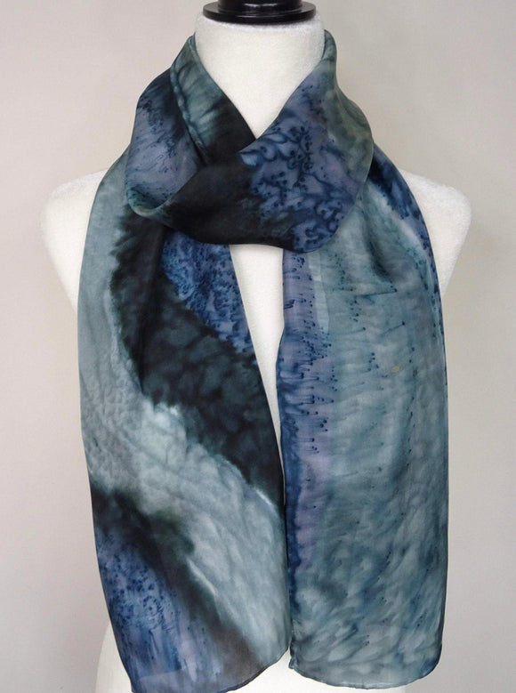 Blue and Gray, Two Tone Hand Painted Silk Scarf.