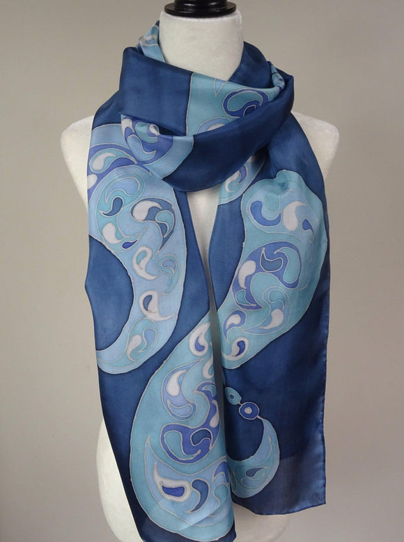 Blue Hand Painted Silk Scarf. Paisley print blue silk scarf