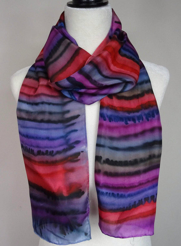 Red, Blue and Purple Striped Hand Painted Silk Scarf