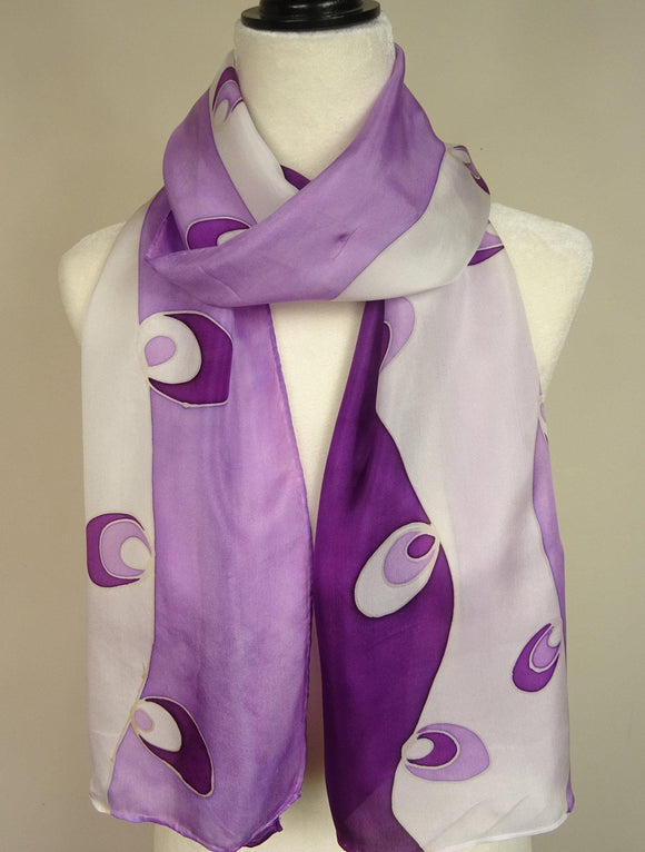 Hand Painted Purple Silk Scarf