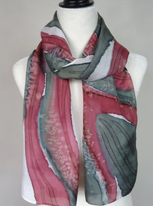 Olive Green and Wine, Two Tone Hand Painted Silk Scarf