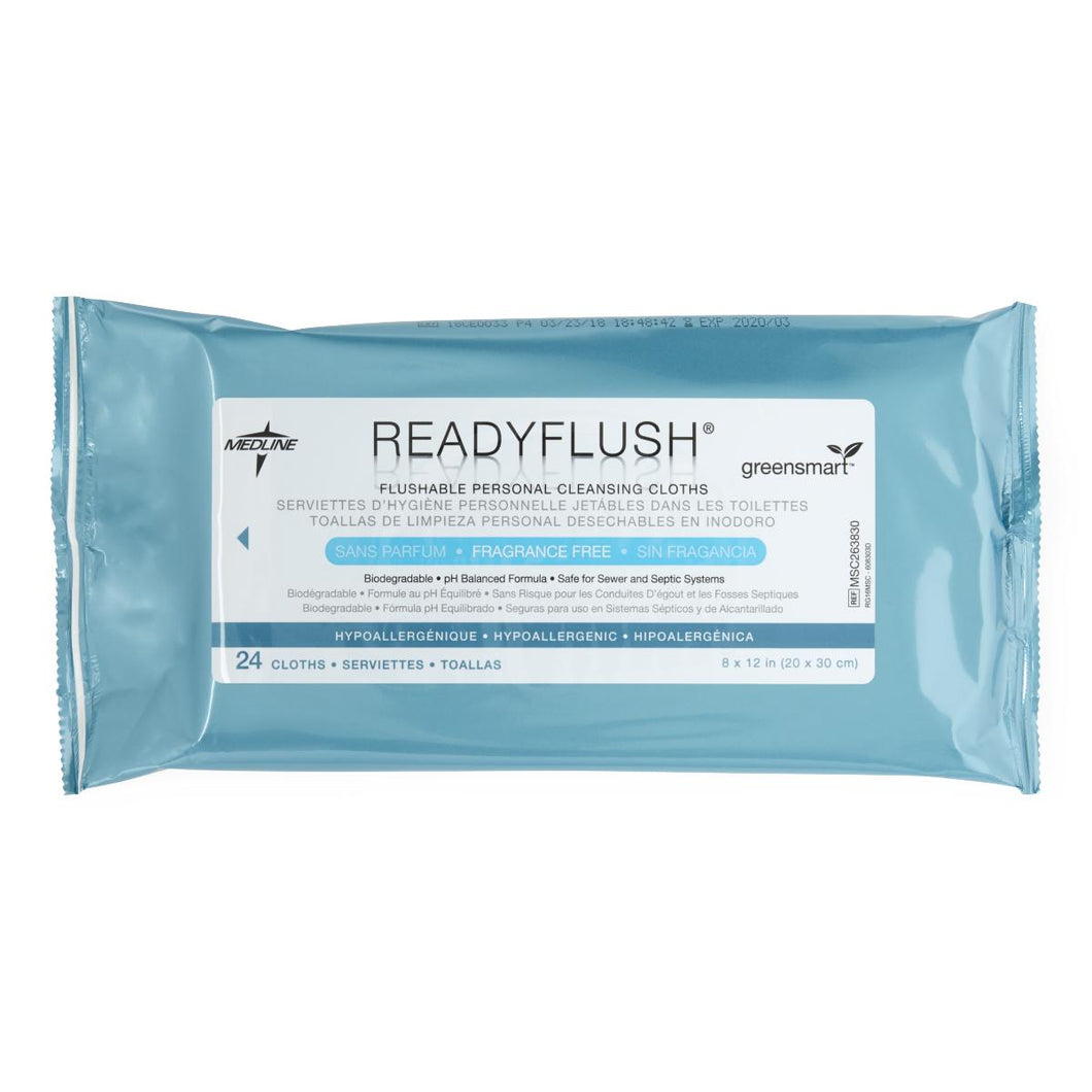 ReadyFlush Flushable Personal Cleansing Wipes, Fragrance Free, 24 Packs of 24, 576 Total Count