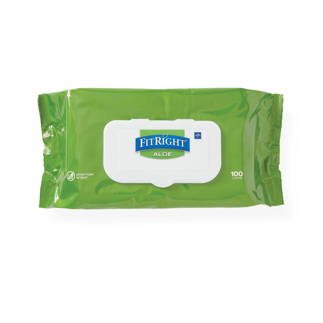 FitRight Aloe Fragrance-Free Wet Wipes, 6 Packs of 100, 600 Total Count