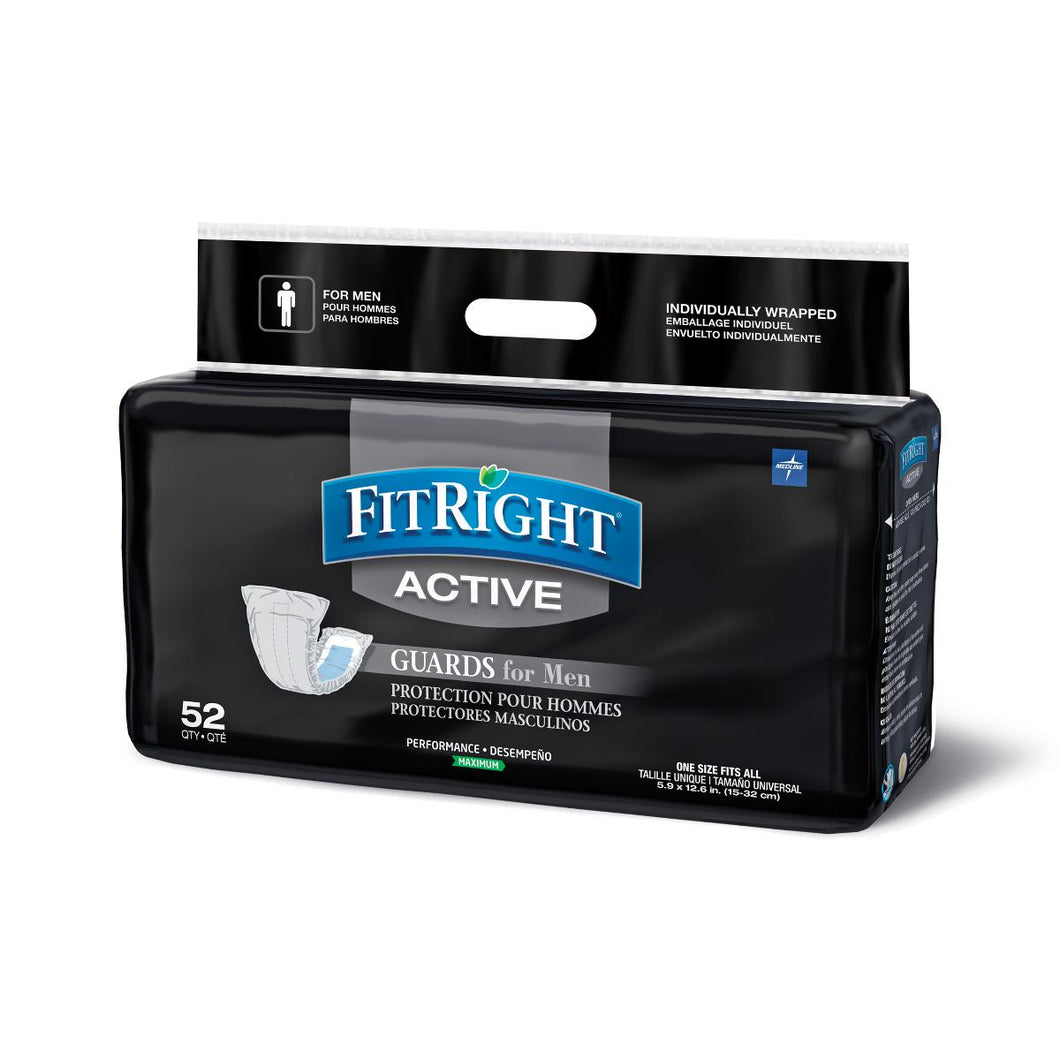 FitRight Active Guards for Men Incontinence Liners, 4 Packs of 52, 208 Total Count