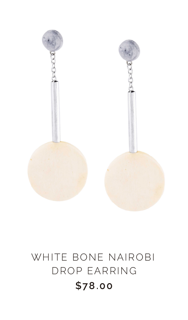 SOKO WHITE HORN NAIROBI DROP EARRING - $78.00