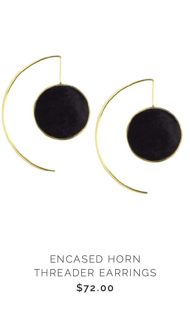 SOKO ENCASED HORN THREADER EARRINGS - $72.00