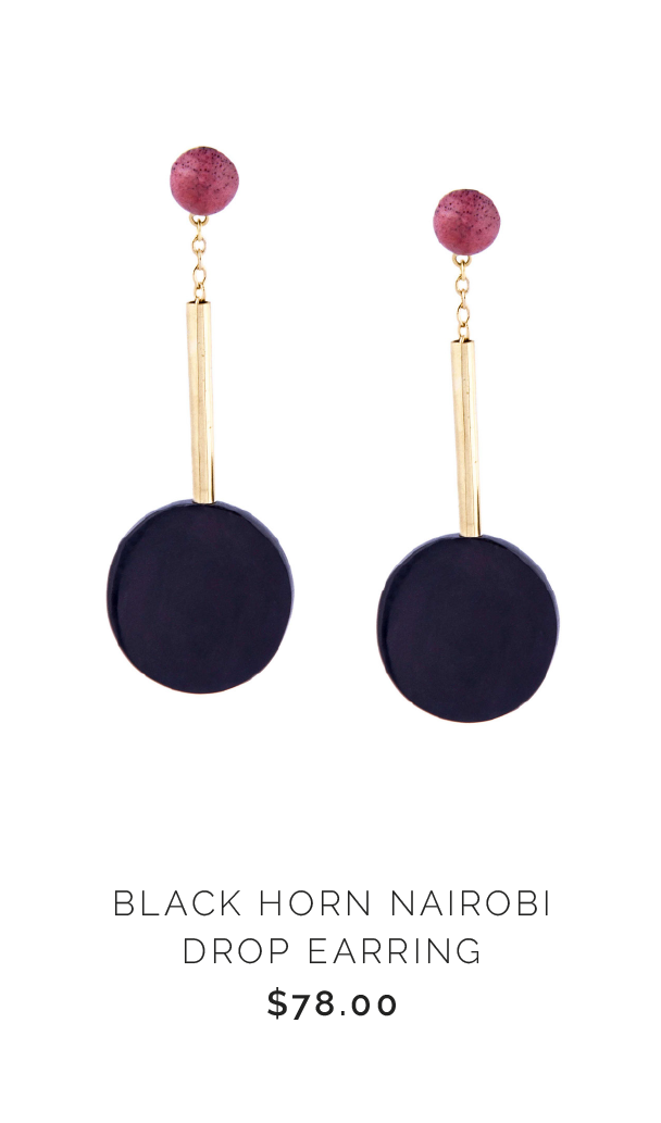 SOKO BLACK HORN NAIROBI DROP EARRING - $78.00