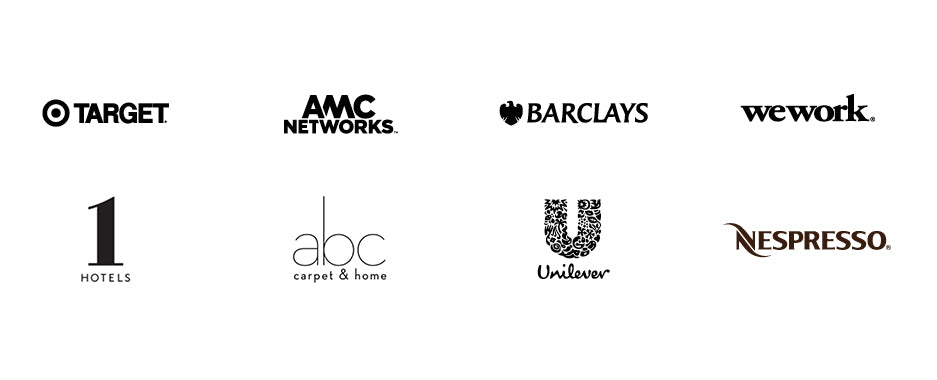Logos for Target, AMC Networks, Barclays, WeWork, 1 Hotels, ABC Carpet & Home, Unilever, and Nespresso