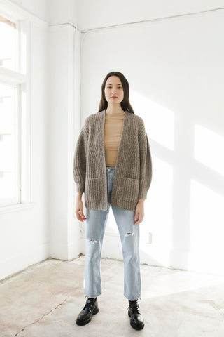 Marine Cardigan in Taupe