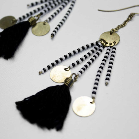 Boho B&W Beaded Earrings