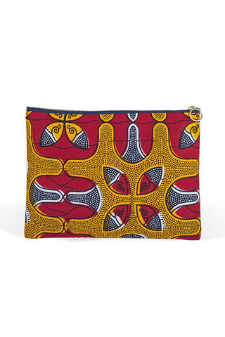 Bese Saka Clutch by 3rd Culture. Handcrafted in Turkey. Zipper clutch featuring a bright, hand printed African wax print fabric. Handmade in Istanbul using West African fabrics. Color multi. 100% cotton.
