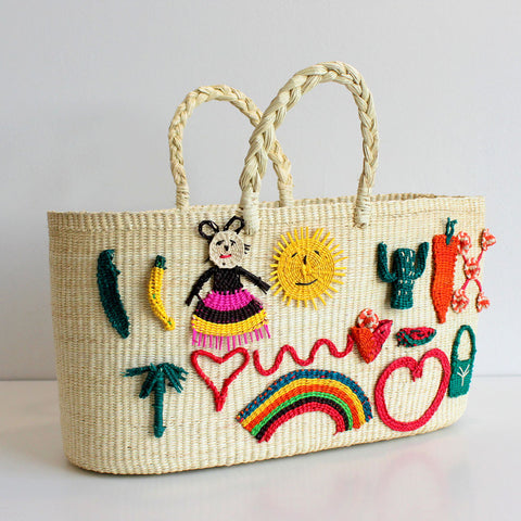 Patches Woven Straw Tote