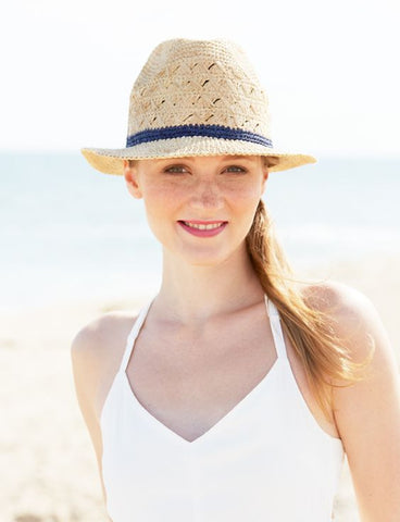 "Avery Natural Crocheted Fedora by Mar y Sol Spring 2018. This classic short brimmed fedora features a band of contrasting color and crocheted venting. Materials: 100% raffiaDimensions: 2"" brim, 5"" crown, 22"" circumference Handmade in Madagascar"