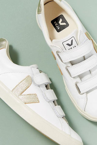 Extra White & Gold Velcro 3-Lock Leather Sneaker