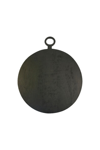 Brushed Wood Round Board by Be Home. Handcrafted in India. The Brushed Wood Round Board is handcrafted from mango wood sustainably harvested from mango plantations in India, and finished with a food safe black satin stain. Color black. 100% mango wood.