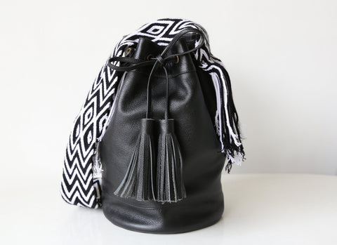 *Exclusive Black Leather Mochila Bag