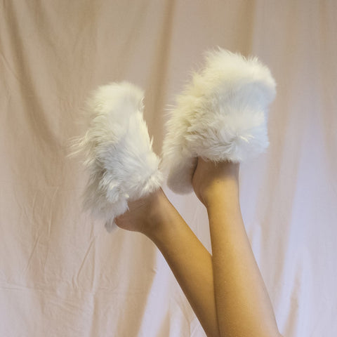 White Alpaca Slippers