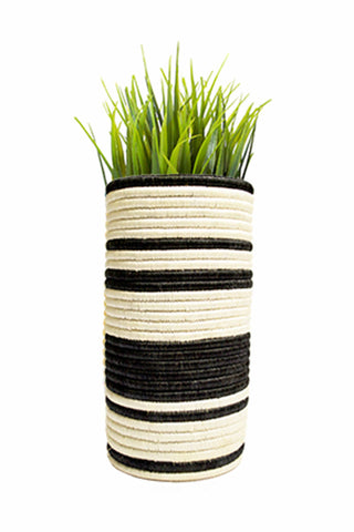Striped B&W Raffia Vase