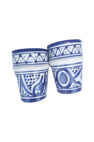 Navy Safi Cup Set by Atelier Boemia. Handcrafted in Morocco. These modern Moroccan Safi tea cups in the traditional Beldi shape come in two different patterns and three different color ways so that you can mix and match to your heart's content. Color blue and white.