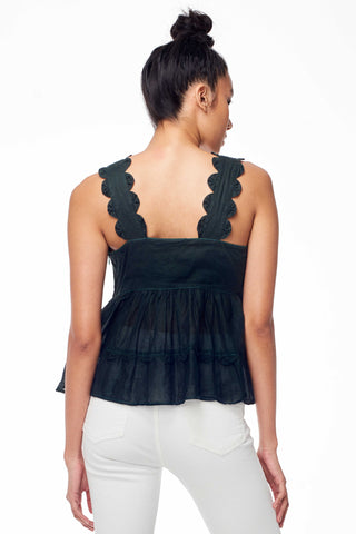 Antik Batik Spring 2018 Lolaa Top. Tank Top with scalloped strap detail and pleating detail. Fully lined at bust, semi-sheer at bottom. Small measures 24 inches from shoulder to hem. Color Black. 100% Cotton Organdi. Sizes X-Small Small Medium Large