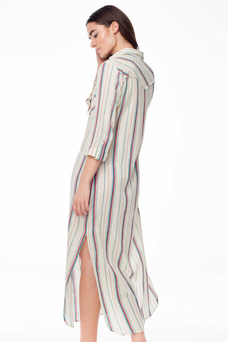 Antik Batik Spring 2018 Antonio Dress. Hand woven tunic shirt dress with bold red and green stripes, side slits and front button pockets. Unlined. Small measures 54.5 inches from shoulder to hem. Color Natural. 100% cotton. Sizes X-Small Small Medium Large.