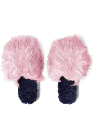 Accompany Exclusive Ariana Bohling Two Tone Suri Slipper. Slide on baby alpaca slipper. Open toe slipper with Alpaca upper and lining. Micro suede sole. Sustainably sourced and produced. Ethically handmade in Peru. Color blush navy. 100% baby alpaca. Sizes Small Medium Large.