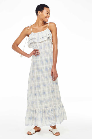 Antik Batik Spring 2018 Tony Dress. Maxi Dress in textured cotton with ruffle details and adjustable tie shoulder straps. Small measures 52 inches from shoulder to hem. Color Blue multi. 100% handwoven Cotton. Sizes X-Small Small Medium Large