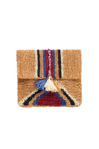Antik Batik Spring 2018 Rufo Clutch. Woven raffia clutch with stripe pattern and tassel detail. Unlined. 8 inches by 10 inches. Color Brown. 100% raffia. One Size.
