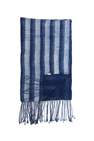 Striped Indigo Fringe Throw