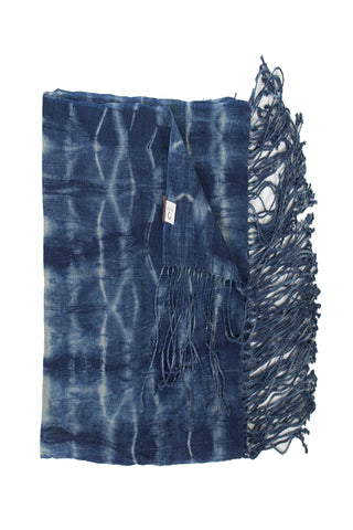 Tie Dye Indigo Fringe Throw