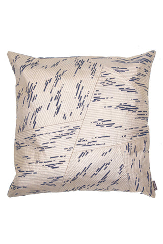Golden Block Print Cushion by Anhad Craft. Hand printed in India. The Golden Block Print Cushion exudes artful flirtation. Hand block printed in a golden tone with hand-embroidered denim accents. Color gold.